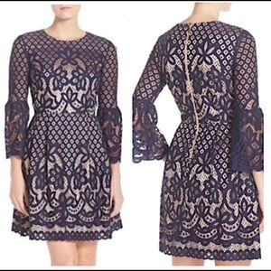 Eliza J navy lace fit and flare bell sleeve dress